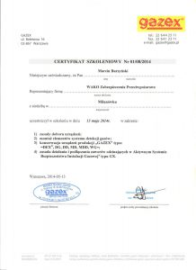 gazex certyfikat szkolenia